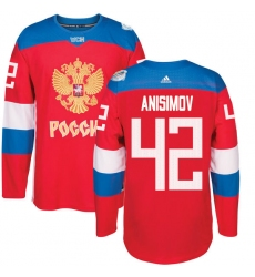 Men's Adidas Team Russia #42 Artem Anisimov Authentic Red Away 2016 World Cup of Hockey Jersey