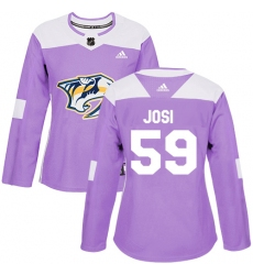 Women's Adidas Nashville Predators #59 Roman Josi Authentic Purple Fights Cancer Practice NHL Jersey
