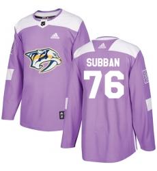 Youth Adidas Nashville Predators #76 P.K Subban Authentic Purple Fights Cancer Practice NHL Jersey