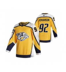 Men's Nashville Predators #92 Ryan Johansen Yellow 2020-21 Reverse Retro Alternate Hockey Jersey