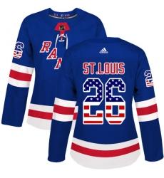 Women's Adidas New York Rangers #26 Martin St. Louis Authentic Royal Blue USA Flag Fashion NHL Jersey