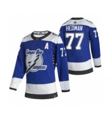 Men's Tampa Bay Lightning #77 Victor Hedman Blue 2020-21 Reverse Retro Alternate Hockey Jersey