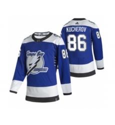Men's Tampa Bay Lightning #86 Nikita Kucherov Blue 2020-21 Reverse Retro Alternate Hockey Jersey