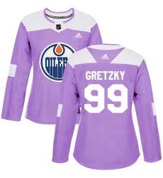 Women's Adidas Edmonton Oilers #99 Wayne Gretzky Authentic Purple Fights Cancer Practice NHL Jersey