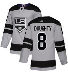 Men's Adidas Los Angeles Kings #8 Drew Doughty Premier Gray Alternate NHL Jersey