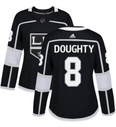Women's Adidas Los Angeles Kings #8 Drew Doughty Authentic Black Home NHL Jersey