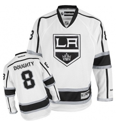 Youth Reebok Los Angeles Kings #8 Drew Doughty Authentic White Away NHL Jersey
