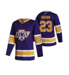 Men's Los Angeles Kings #23 Dustin Brown Black 2020-21 Reverse Retro Alternate Hockey Jersey