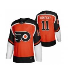 Men's Philadelphia Flyers #11 Travis Konecny Orange 2020-21 Reverse Retro Alternate Hockey Jersey