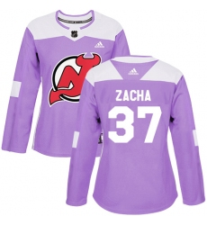 Women's Adidas New Jersey Devils #37 Pavel Zacha Authentic Purple Fights Cancer Practice NHL Jersey