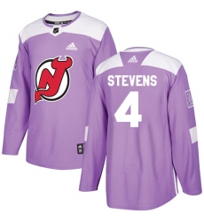 Men's Adidas New Jersey Devils #4 Scott Stevens Authentic Purple Fights Cancer Practice NHL Jersey