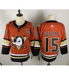 Men's Adidas Anaheim Ducks #15 Ryan Getzlaf Orange Authentic Teal Third Jersey