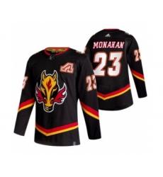 Men's Calgary Flames #23 Sean Monahan Black 2020-21 Reverse Retro Alternate Hockey Jersey