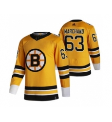 Men's Boston Bruins #63 Brad Marchand Yellow 2020-21 Reverse Retro Alternate Hockey Jersey