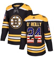 Men's Adidas Boston Bruins #24 Terry O'Reilly Authentic Black USA Flag Fashion NHL Jersey