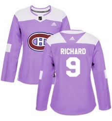 Women's Adidas Montreal Canadiens #9 Maurice Richard Authentic Purple Fights Cancer Practice NHL Jersey