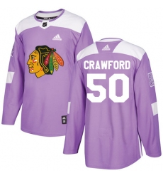 Youth Adidas Chicago Blackhawks #50 Corey Crawford Authentic Purple Fights Cancer Practice NHL Jersey
