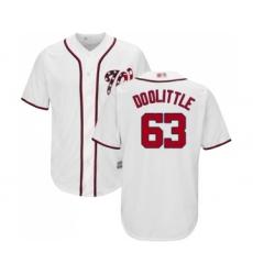 Men's Washington Nationals #63 Sean Doolittle Replica White Home Cool Base Baseball Jersey