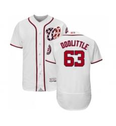 Men's Washington Nationals #63 Sean Doolittle White Home Flex Base Authentic Collection Baseball Jersey