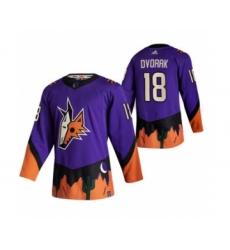 Men's Arizona Coyotes #18 Christian Dvorak Purple 2020-21 Reverse Retro Alternate Hockey Jersey