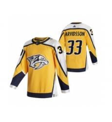 Men's Nashville Predators #33 Viktor Arvidsson Yellow 2020-21 Reverse Retro Alternate Hockey Jersey