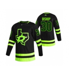 Men's Dallas Stars #30 Ben Bishop Black 2020-21 Reverse Retro Alternate Hockey Jersey