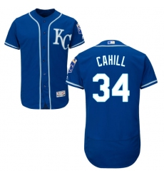 Men's Majestic Kansas City Royals #34 Trevor Cahill Blue Flexbase Authentic Collection MLB Jersey