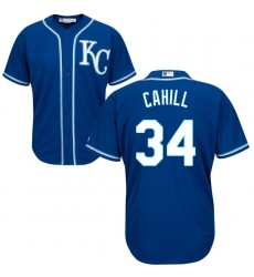 Men's Majestic Kansas City Royals #34 Trevor Cahill Replica Blue Alternate 2 Cool Base MLB Jersey