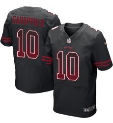 Men's Nike San Francisco 49ers #10 Jimmy Garoppolo Elite Black Alternate Drift Fashion NFL Jersey