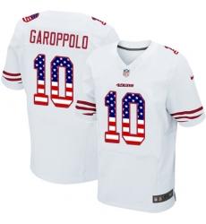 Men's Nike San Francisco 49ers #10 Jimmy Garoppolo Elite White Road USA Flag Fashion NFL Jersey