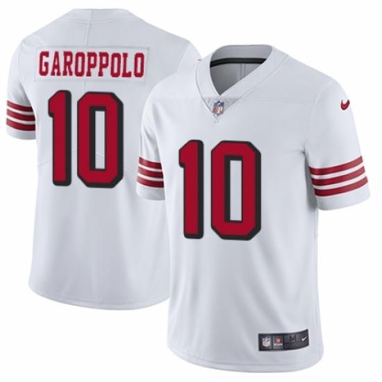 Men's Nike San Francisco 49ers #10 Jimmy Garoppolo Elite White Rush Vapor Untouchable NFL Jersey