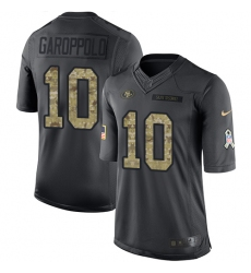 Men's Nike San Francisco 49ers #10 Jimmy Garoppolo Limited Black 2016 Salute to Service NFL Jersey