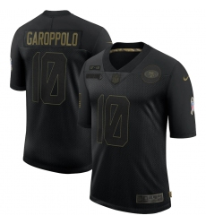 Men's San Francisco 49ers #10 Jimmy Garoppolo Black 2020 Salute To Service Limited Jersey