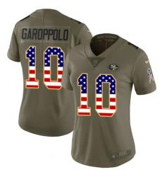 Women's Nike San Francisco 49ers #10 Jimmy Garoppolo Limited Olive/USA Flag 2017 Salute to Service NFL Jersey