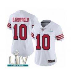 Women's San Francisco 49ers #10 Jimmy Garoppolo Limited White Rush Vapor Untouchable Super Bowl LIV Bound Football Jersey