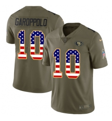 Youth Nike San Francisco 49ers #10 Jimmy Garoppolo Limited Olive/USA Flag 2017 Salute to Service NFL Jersey