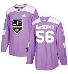Youth Adidas Los Angeles Kings #56 Kurtis MacDermid Authentic Purple Fights Cancer Practice NHL Jersey