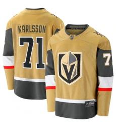 Men's Vegas Golden Knights #71 William Karlsson Fanatics Branded Gold 2020-21 Alternate Premier Breakaway Player Jersey