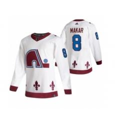 Men's Colorado Avalanche #8 Cale Makar White 2020-21 Reverse Retro Alternate Hockey Jersey