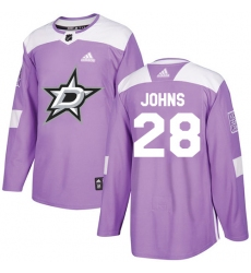 Youth Adidas Dallas Stars #28 Stephen Johns Authentic Purple Fights Cancer Practice NHL Jersey