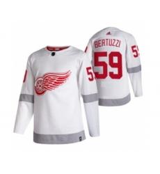 Men's Detroit Red Wings #59 Tyler Bertuzzi White 2020-21 Reverse Retro Alternate Hockey Jersey