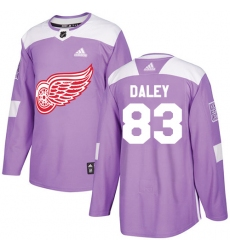 Youth Adidas Detroit Red Wings #83 Trevor Daley Authentic Purple Fights Cancer Practice NHL Jersey