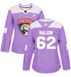 Women's Adidas Florida Panthers #62 Denis Malgin Authentic Purple Fights Cancer Practice NHL Jersey