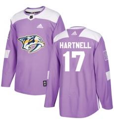 Men's Adidas Nashville Predators #17 Scott Hartnell Authentic Purple Fights Cancer Practice NHL Jersey