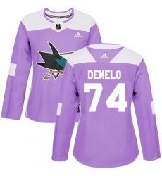 Women's Adidas San Jose Sharks #74 Dylan DeMelo Authentic Purple Fights Cancer Practice NHL Jersey