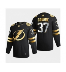 Men's Tampa Bay Lightning #37 Yanni Gourde Black Golden Edition Limited Stitched Hockey Jersey