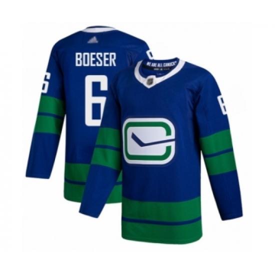 Men's Vancouver Canucks #6 Brock Boeser Authentic Royal Blue Alternate Hockey Jersey