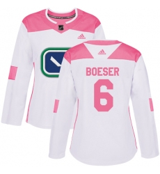Women's Adidas Vancouver Canucks #6 Brock Boeser Authentic White/Pink Fashion NHL Jersey
