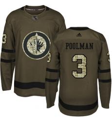 Men's Adidas Winnipeg Jets #3 Tucker Poolman Authentic Green Salute to Service NHL Jersey