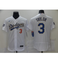 Men's Los Angeles Dodgers #3 Chris Taylor White Nike World Series Champions Authentic Jersey